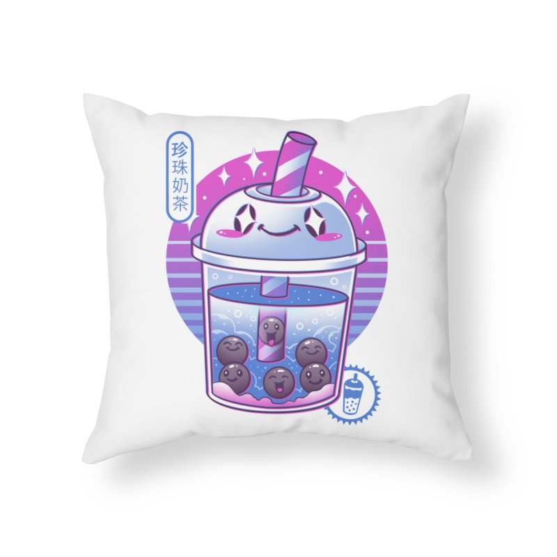 Boba Wave Tea Home Throw Pillow by Vincent Trinidad Art