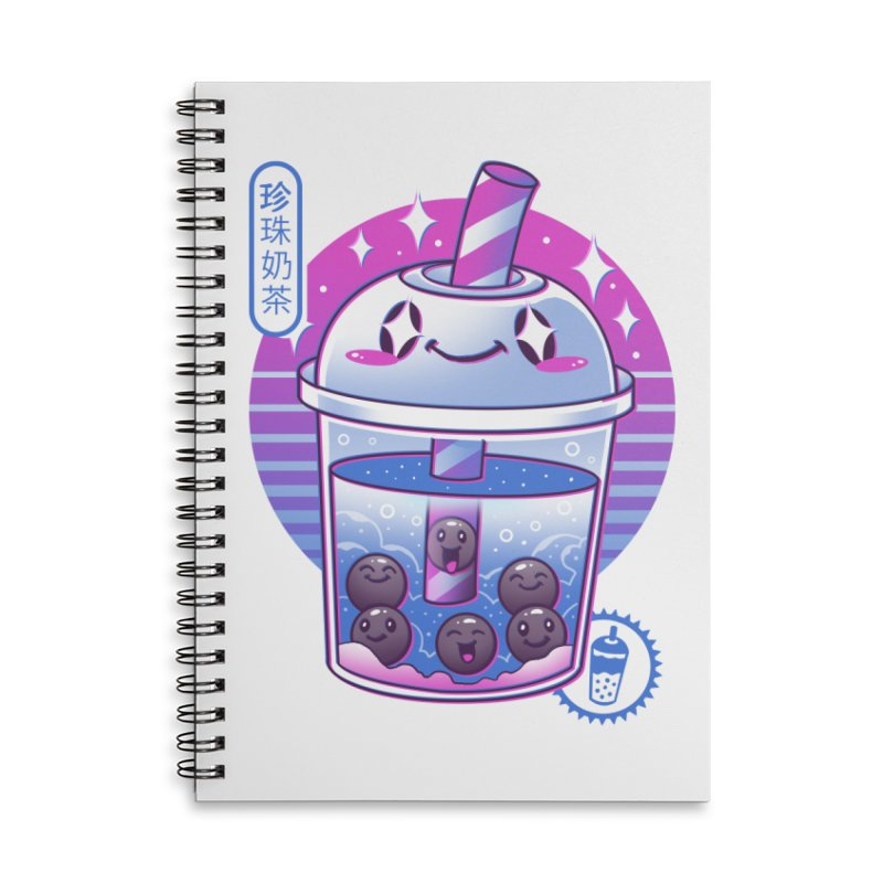 Boba Wave Tea Accessories Lined Spiral Notebook by Vincent Trinidad Art