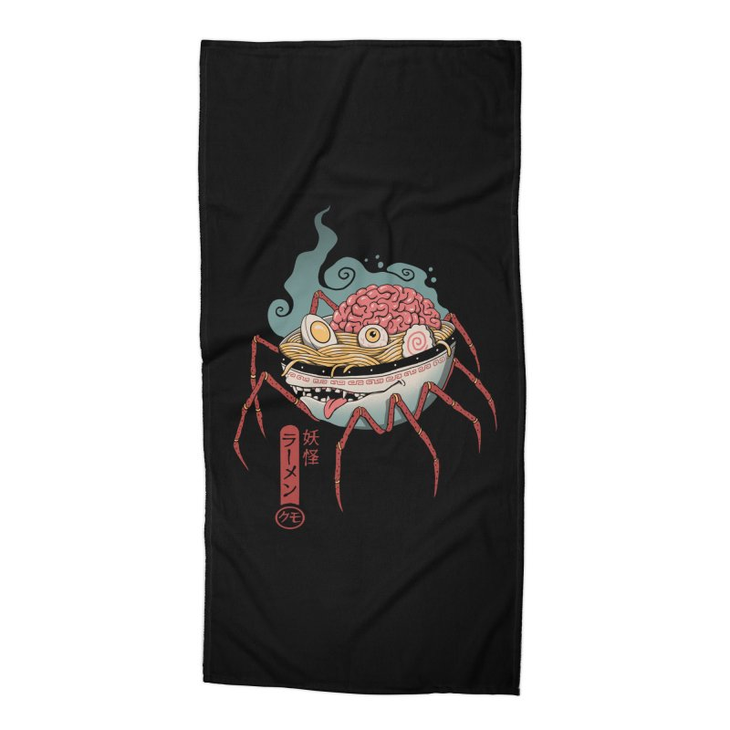 Yokai Ramen Accessories Beach Towel by Vincent Trinidad Art