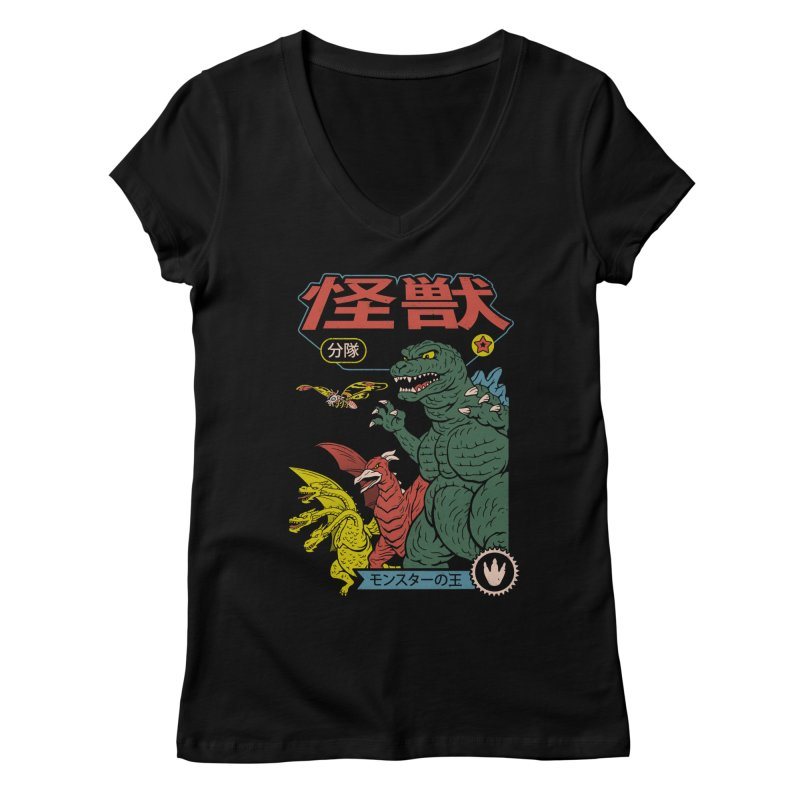 Kaiju Sentai Women's Regular V-Neck by Vincent Trinidad Art