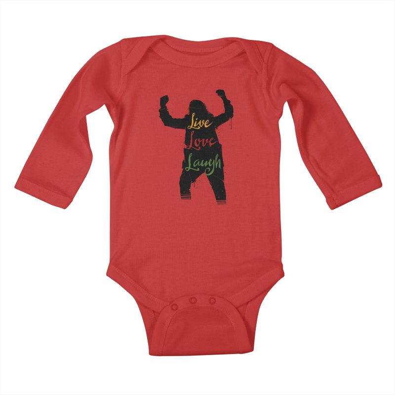Live Love Laugh Kids Baby Longsleeve Bodysuit by Vincent Trinidad Art