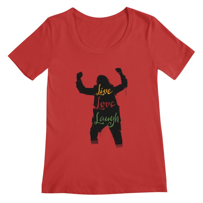 Live Love Laugh Women's Regular Scoop Neck by Vincent Trinidad Art