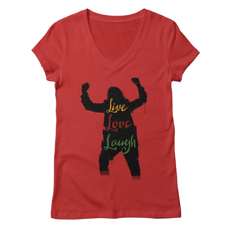 Live Love Laugh Women's Regular V-Neck by Vincent Trinidad Art