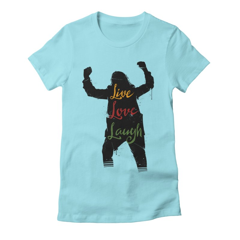 Live Love Laugh Women's Fitted T-Shirt by Vincent Trinidad Art