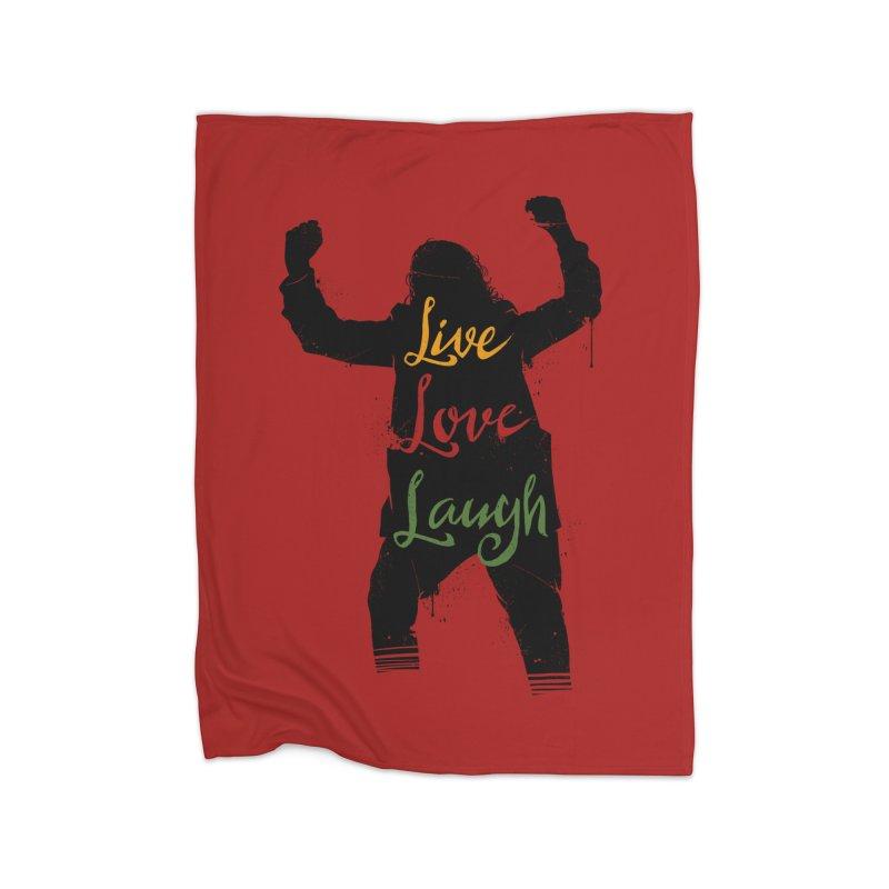 Live Love Laugh Home Fleece Blanket Blanket by Vincent Trinidad Art
