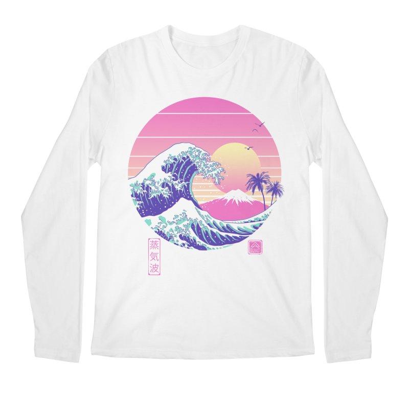 The Great Vaporwave in Men's Regular Longsleeve T-Shirt White by Vincent Trinidad Art