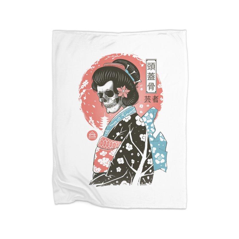 Yokai Geisha Home Fleece Blanket Blanket by Vincent Trinidad Art