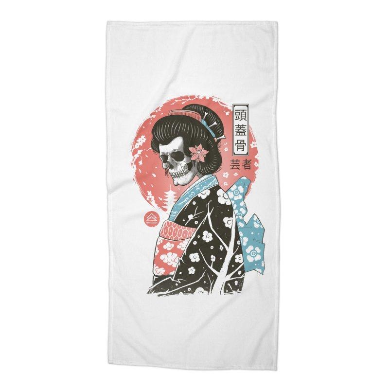 Yokai Geisha Accessories Beach Towel by Vincent Trinidad Art