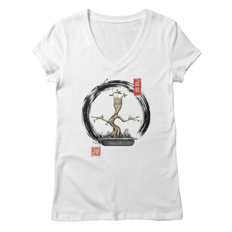 Bonsai Meditations Women's Regular V-Neck by Vincent Trinidad Art