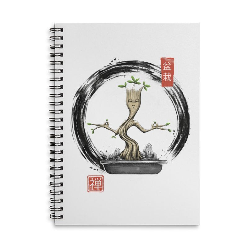 Bonsai Meditations Accessories Lined Spiral Notebook by Vincent Trinidad Art