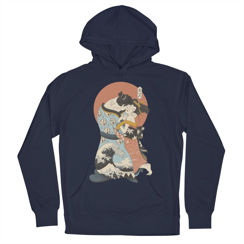 The Kiss Ukiyo-e Men's French Terry Pullover Hoody by Vincent Trinidad Art