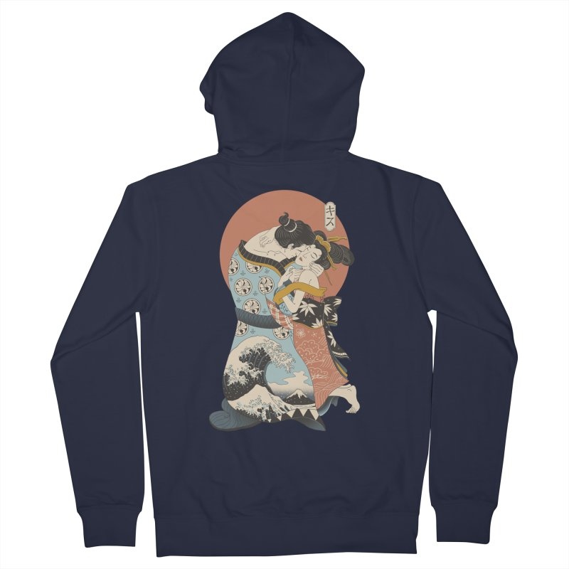 The Kiss Ukiyo-e Men's French Terry Zip-Up Hoody by Vincent Trinidad Art