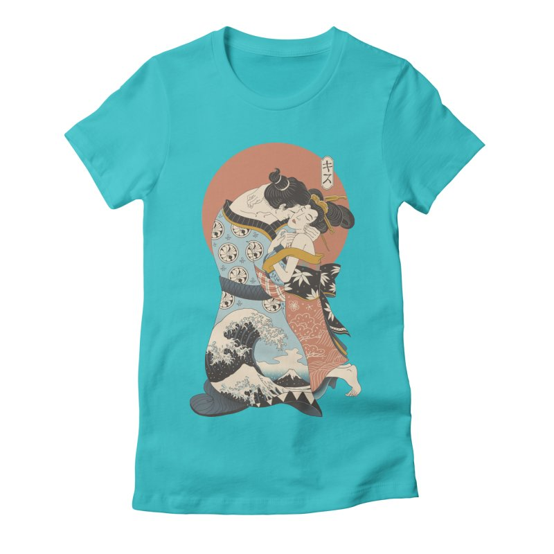 The Kiss Ukiyo-e Women's Fitted T-Shirt by Vincent Trinidad Art