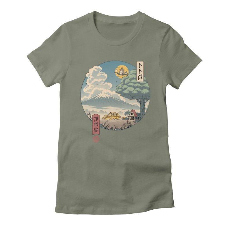 Neighbor's Ukiyo e Women's Fitted T-Shirt by Vincent Trinidad Art