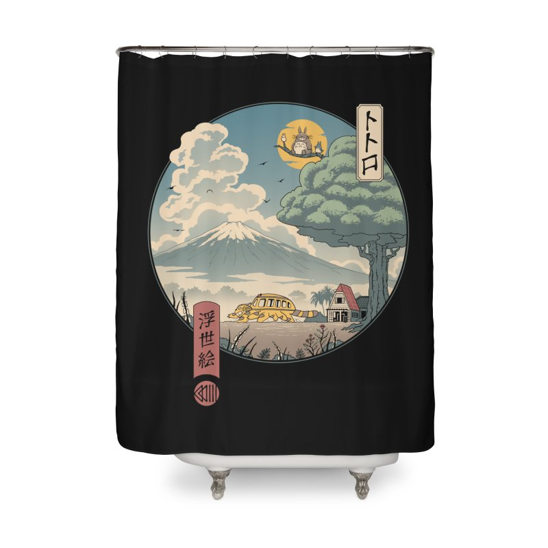 Neighbor's Ukiyo e Home Shower Curtain by Vincent Trinidad Art