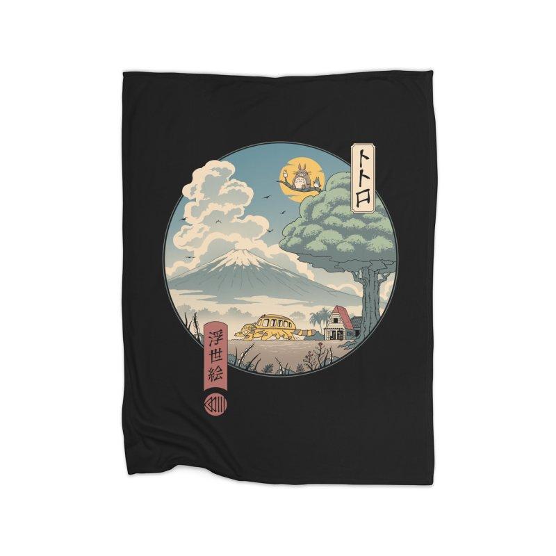 Neighbor's Ukiyo e Home Fleece Blanket Blanket by Vincent Trinidad Art
