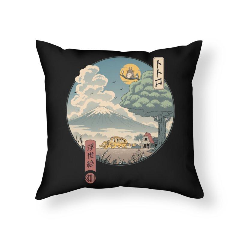 Neighbor's Ukiyo e Home Throw Pillow by Vincent Trinidad Art
