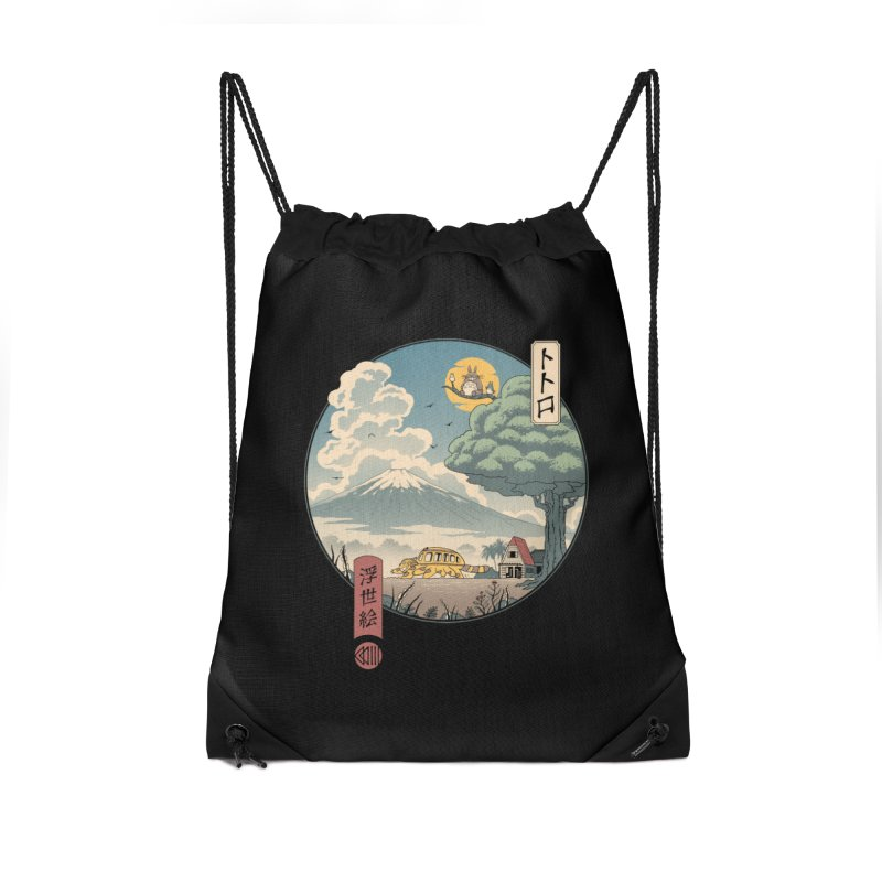 Neighbor's Ukiyo e Accessories Drawstring Bag Bag by Vincent Trinidad Art