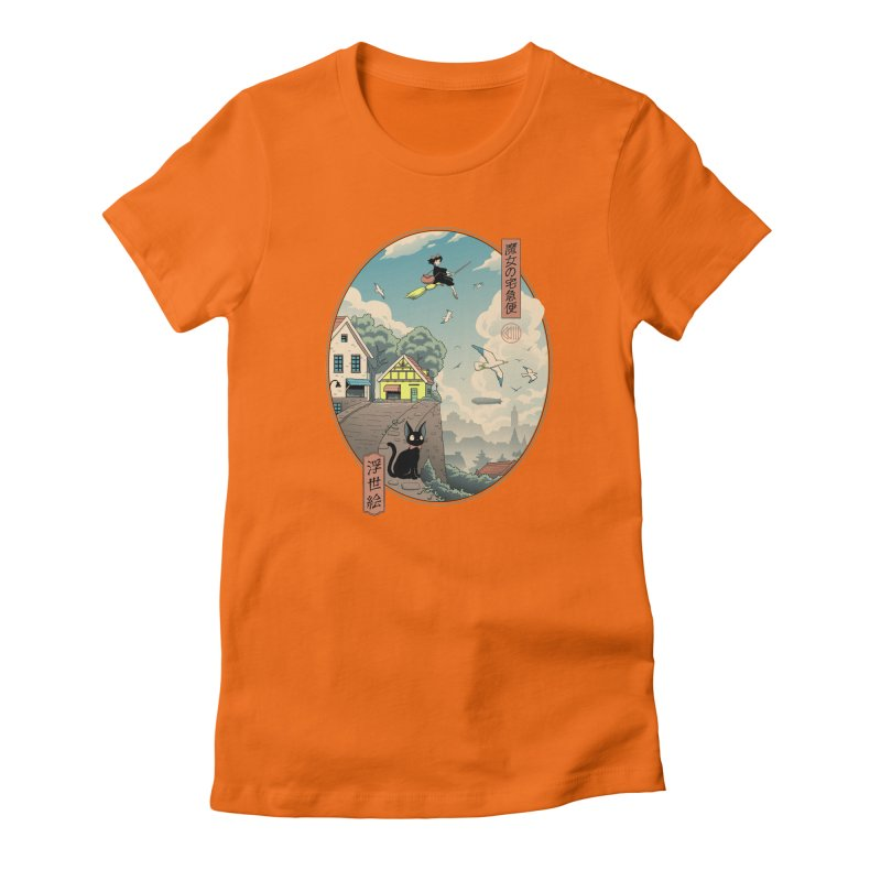 Ukiyo-e Delivery Women's Fitted T-Shirt by Vincent Trinidad Art