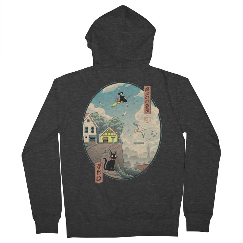 Ukiyo-e Delivery Men's French Terry Zip-Up Hoody by Vincent Trinidad Art
