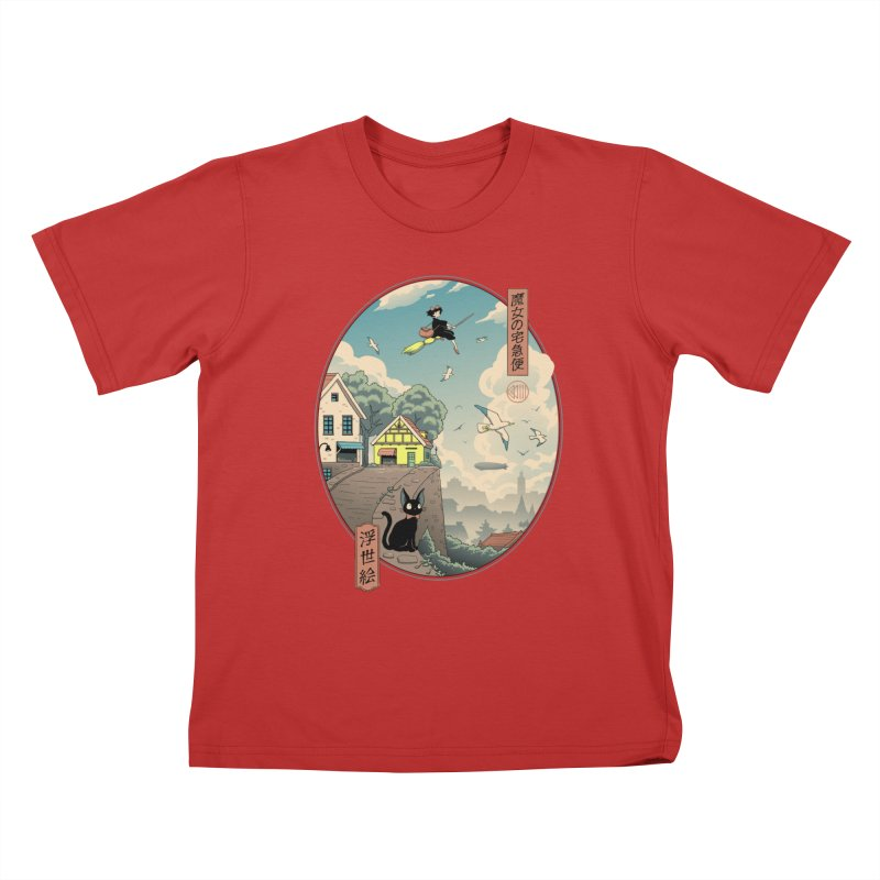 Ukiyo-e Delivery Kids T-Shirt by Vincent Trinidad Art