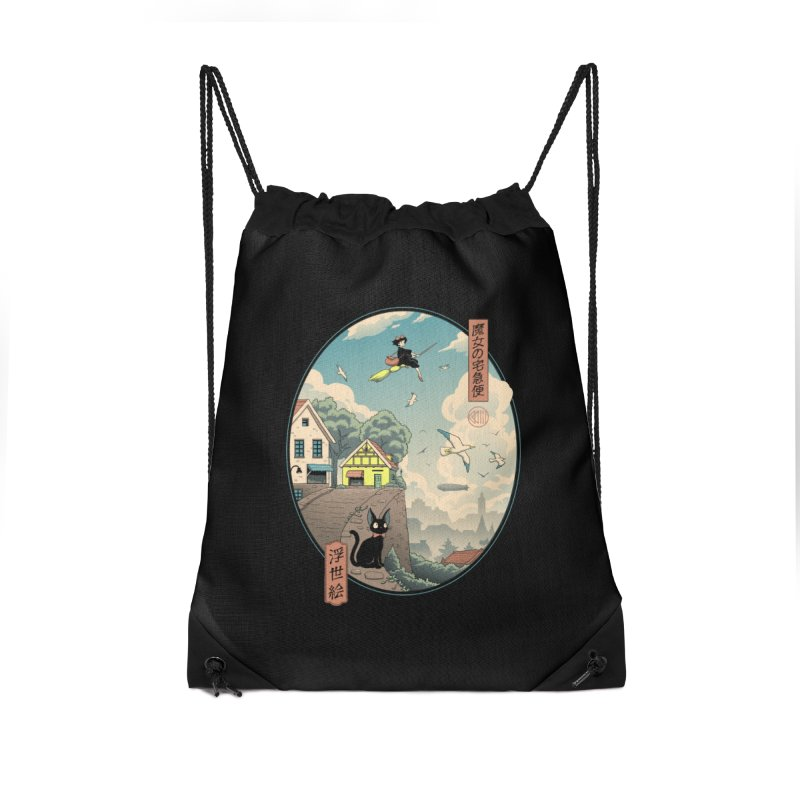 Ukiyo-e Delivery Accessories Drawstring Bag Bag by Vincent Trinidad Art