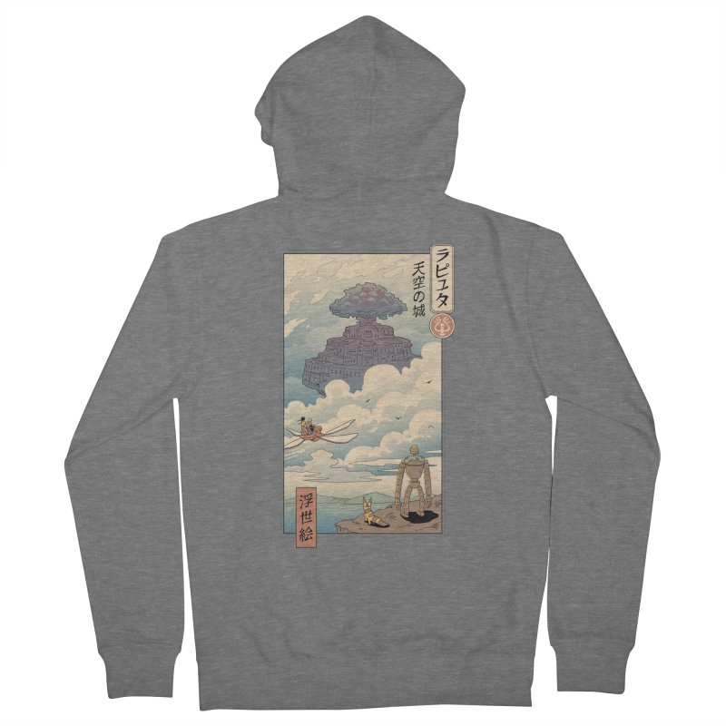 Sky Castle Ukiyo e Men's French Terry Zip-Up Hoody by Vincent Trinidad Art