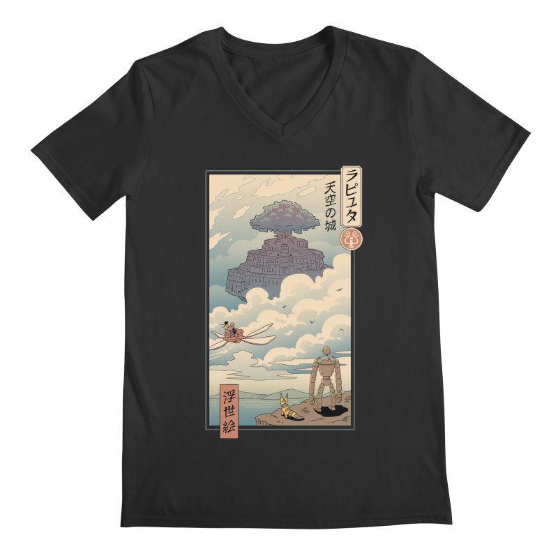 Sky Castle Ukiyo e Men's Regular V-Neck by Vincent Trinidad Art
