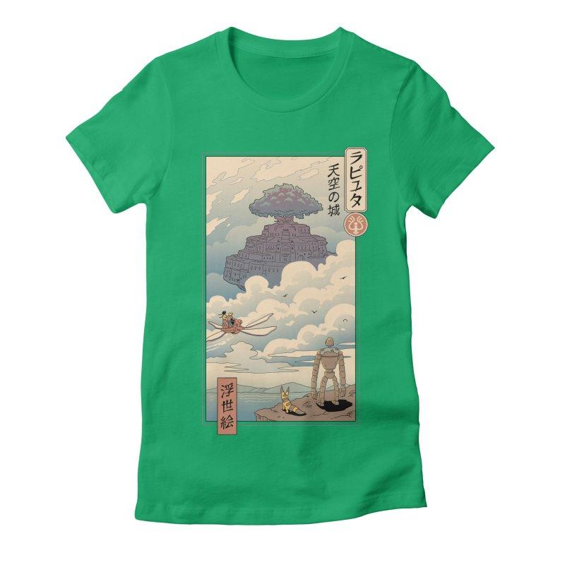 Sky Castle Ukiyo e Women's Fitted T-Shirt by Vincent Trinidad Art