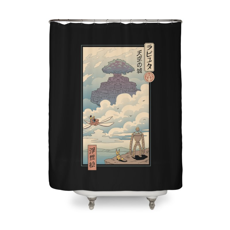 Sky Castle Ukiyo e Home Shower Curtain by Vincent Trinidad Art