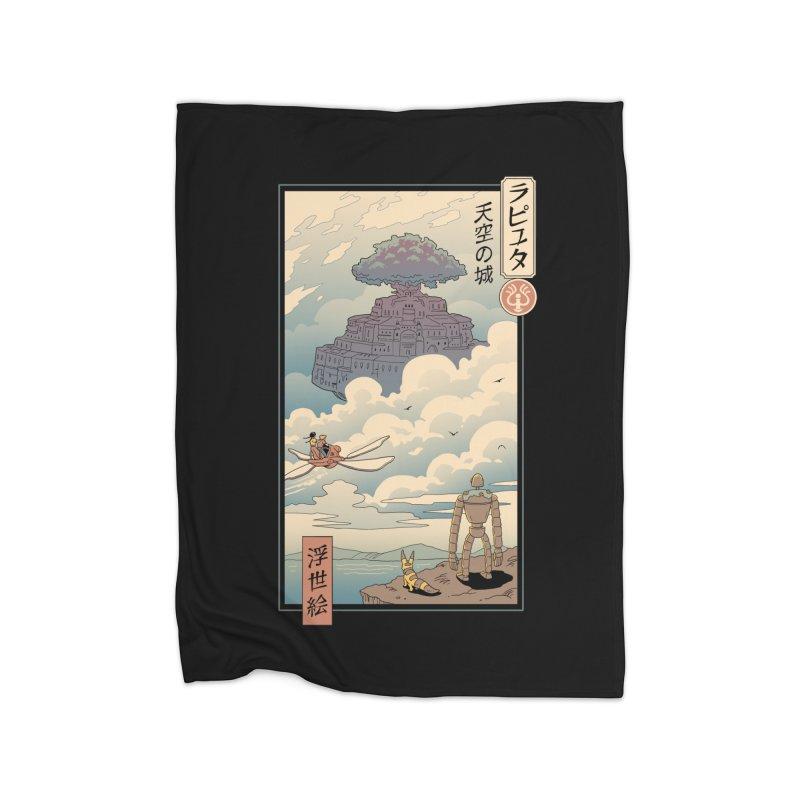Sky Castle Ukiyo e Home Fleece Blanket Blanket by Vincent Trinidad Art