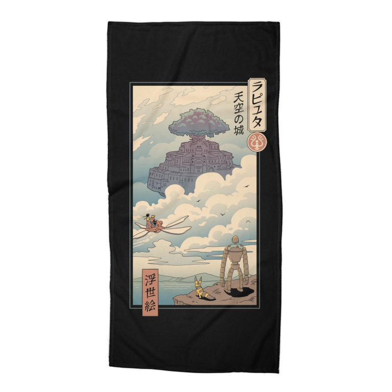 Sky Castle Ukiyo e Accessories Beach Towel by Vincent Trinidad Art