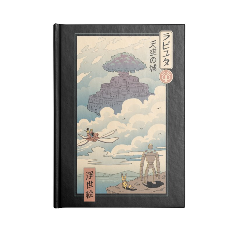 Sky Castle Ukiyo e Accessories Blank Journal Notebook by Vincent Trinidad Art