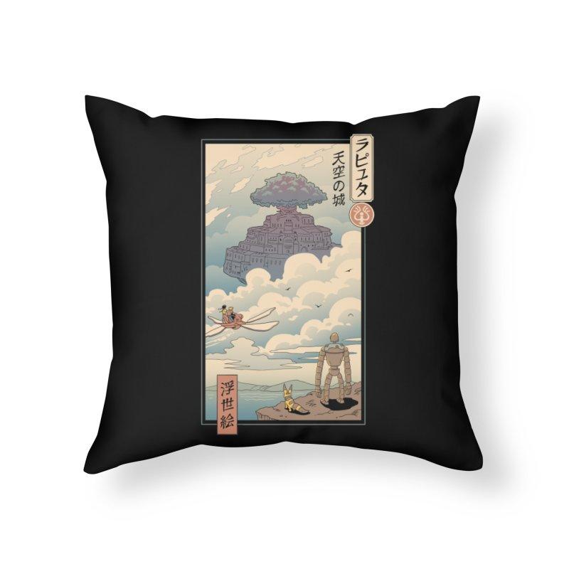 Sky Castle Ukiyo e Home Throw Pillow by Vincent Trinidad Art