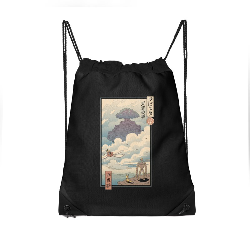 Sky Castle Ukiyo e Accessories Drawstring Bag Bag by Vincent Trinidad Art