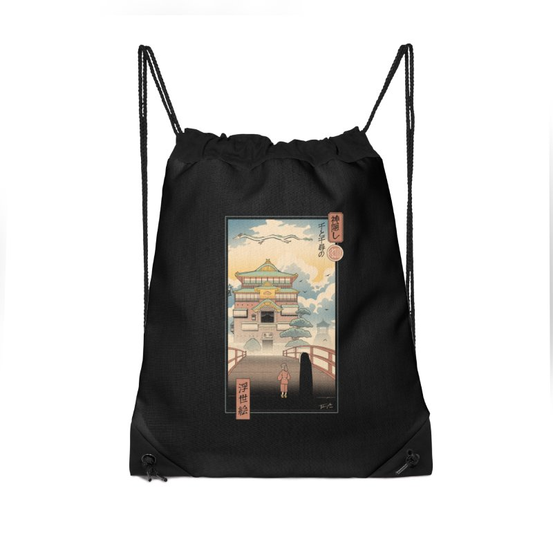 Ukiyo-e Spirits Accessories Drawstring Bag Bag by Vincent Trinidad Art