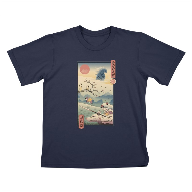 Wolf Princess Ukiyo e Kids T-Shirt by Vincent Trinidad Art