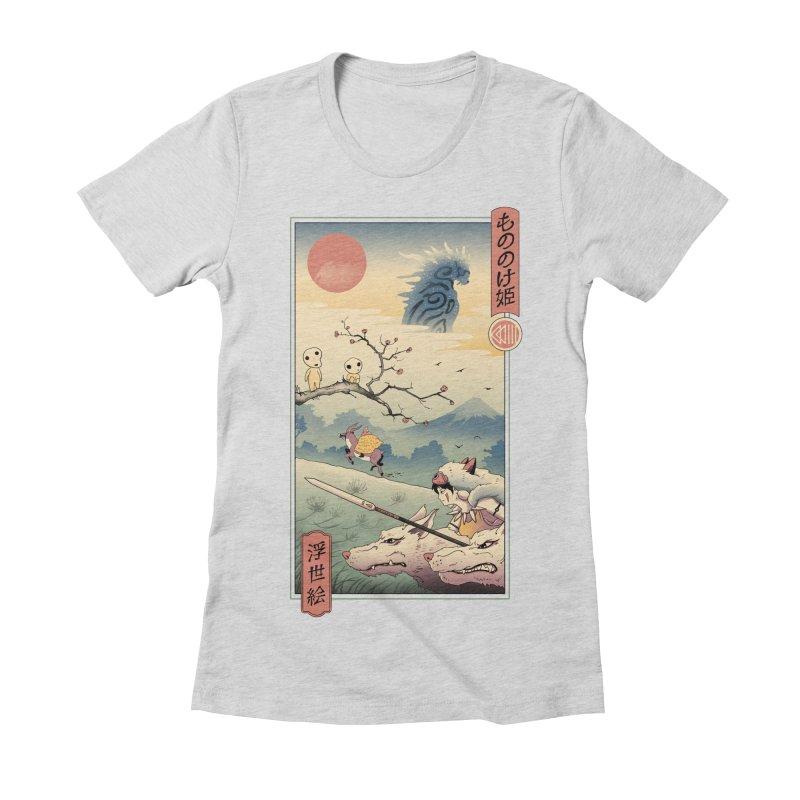 Wolf Princess Ukiyo e Women's Fitted T-Shirt by Vincent Trinidad Art