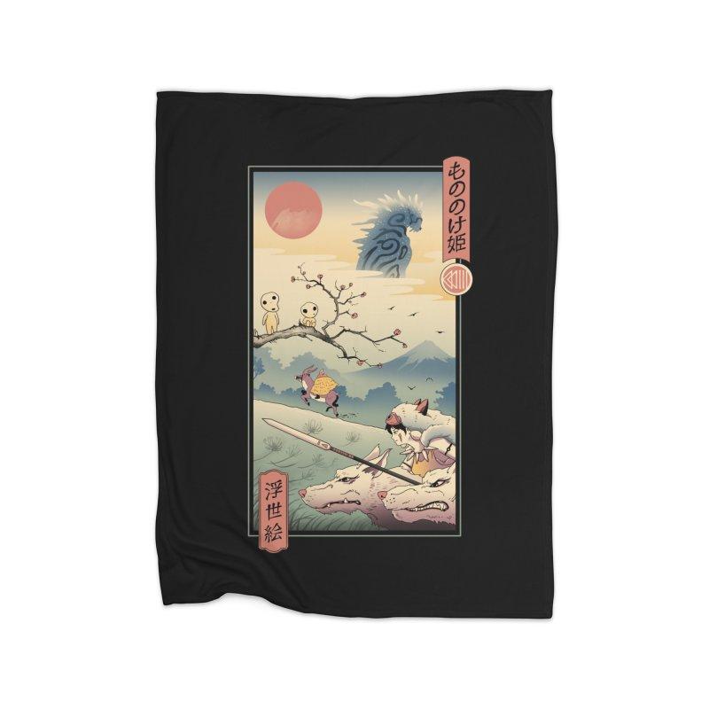 Wolf Princess Ukiyo e Home Fleece Blanket Blanket by Vincent Trinidad Art