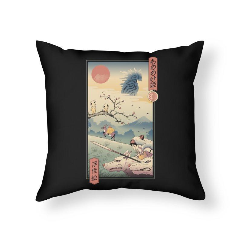 Wolf Princess Ukiyo e Home Throw Pillow by Vincent Trinidad Art
