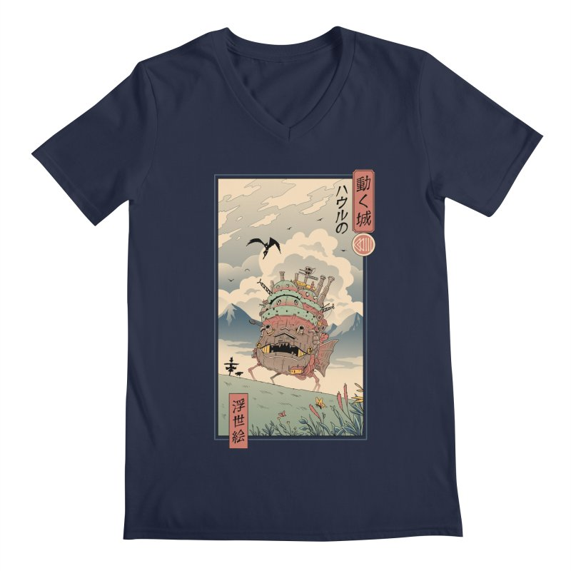 Moving Castle Ukiyo e Men's Regular V-Neck by Vincent Trinidad Art