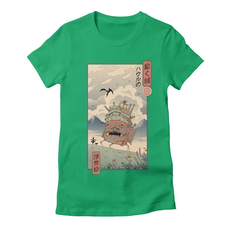 Moving Castle Ukiyo e Women's Fitted T-Shirt by Vincent Trinidad Art