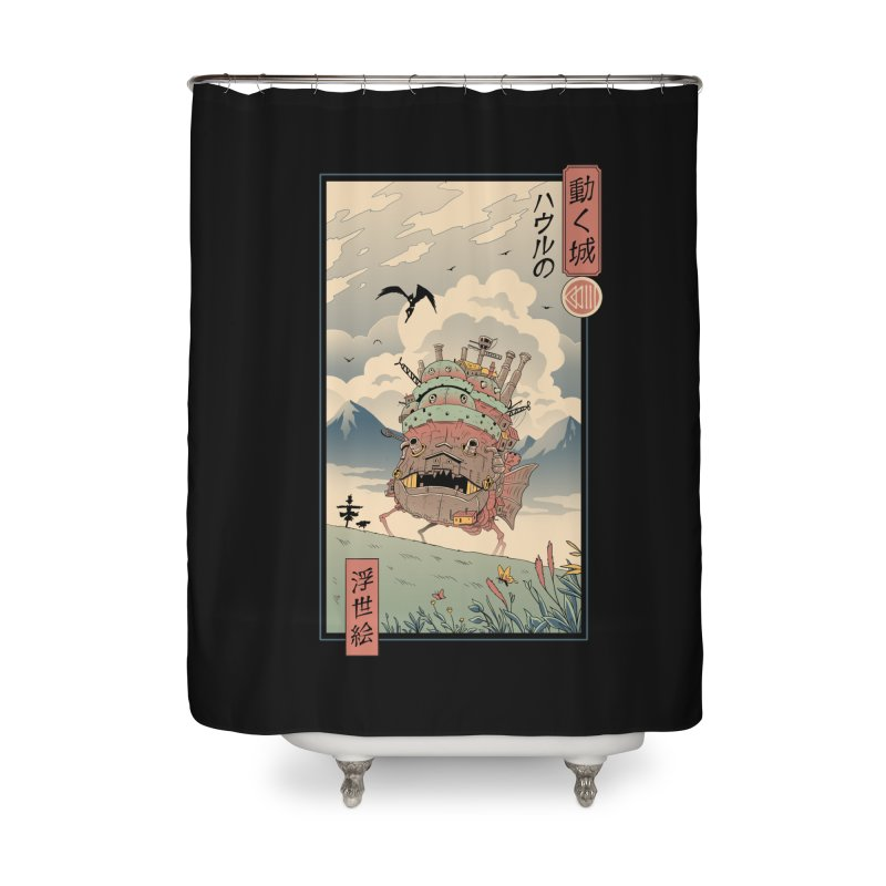 Moving Castle Ukiyo e Home Shower Curtain by Vincent Trinidad Art