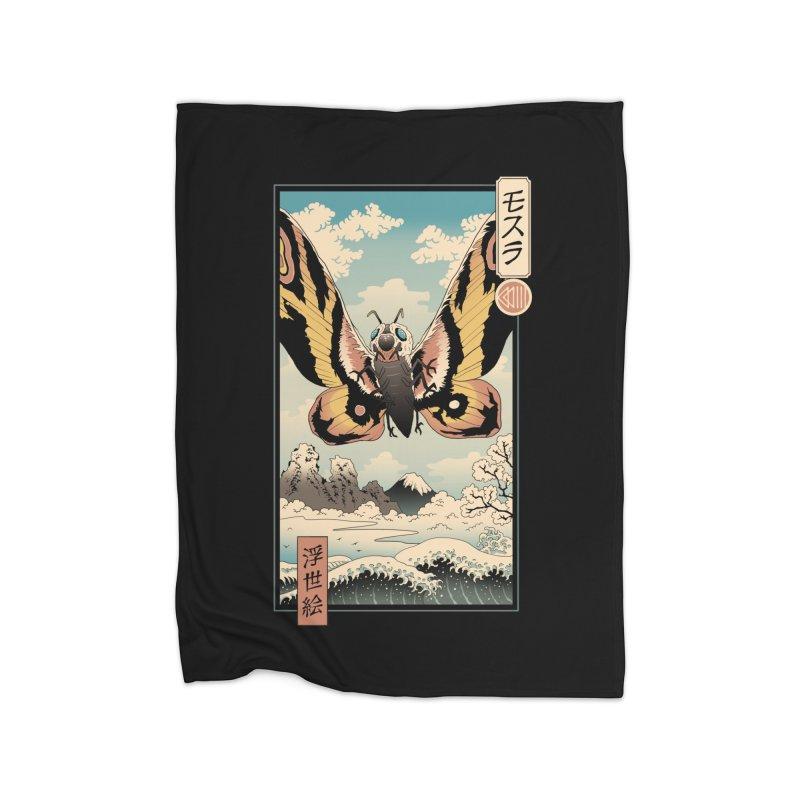 Ancient Moth Ukiyo-e Home Blanket by Vincent Trinidad Art