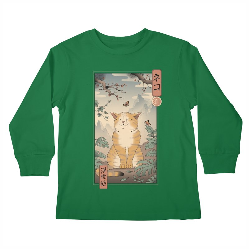Edo Cat Kids Longsleeve T-Shirt by Vincent Trinidad Art