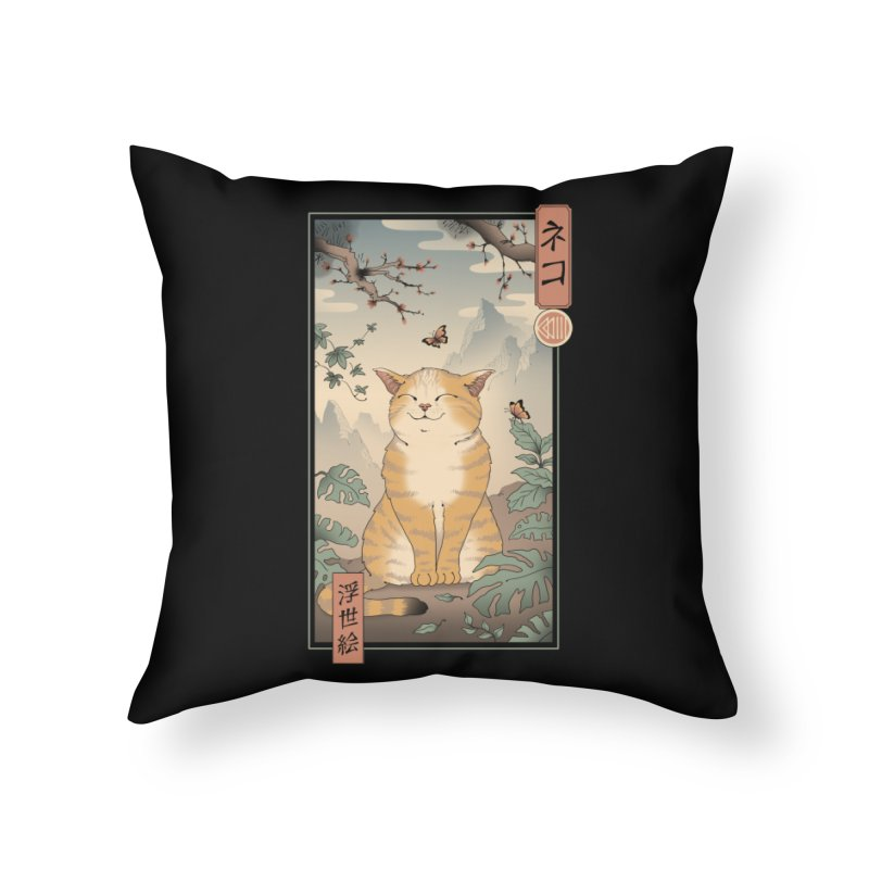 Edo Cat Home Throw Pillow by Vincent Trinidad Art