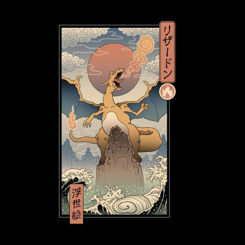 Fire Dragon Ukiyo-e Men's T-Shirt by Vincent Trinidad Art