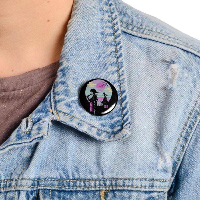 Samurai Chillhop Accessories Button by Vincent Trinidad Art