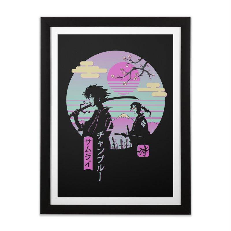 Samurai Chillhop Home Framed Fine Art Print by Vincent Trinidad Art