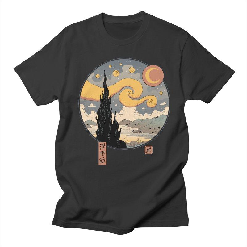 Starry Ukiyo-e Night Men's T-Shirt by Vincent Trinidad Art